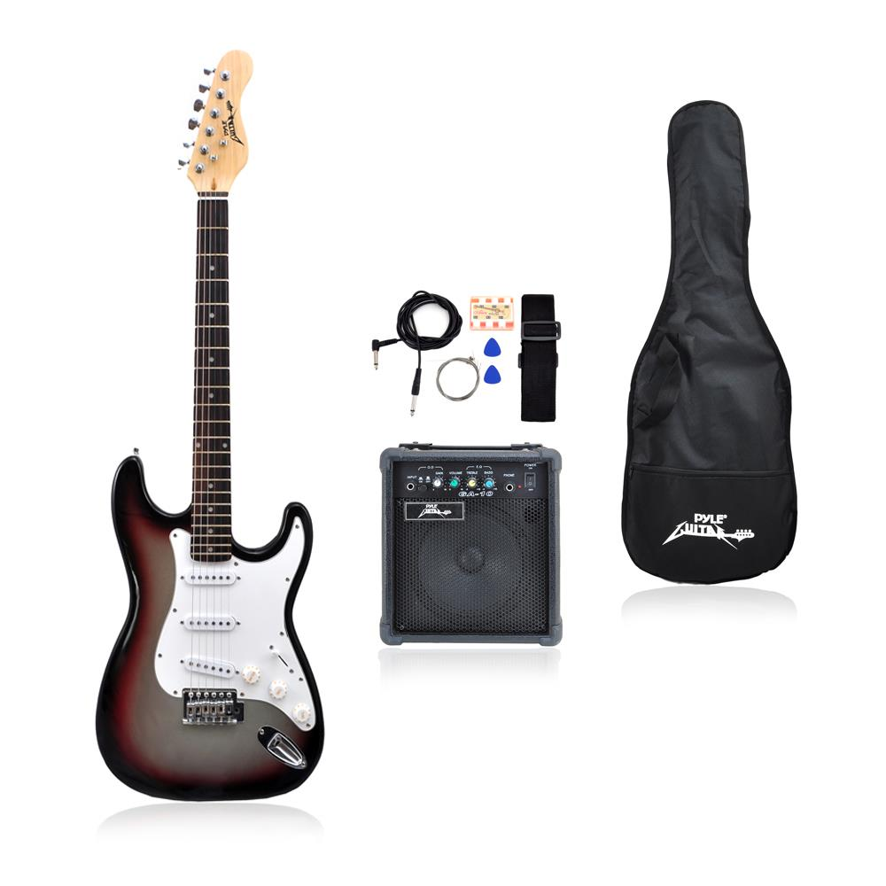 pylepro pegkt15gs beginners electric guitar kit includes amplifier accessories grey. Black Bedroom Furniture Sets. Home Design Ideas