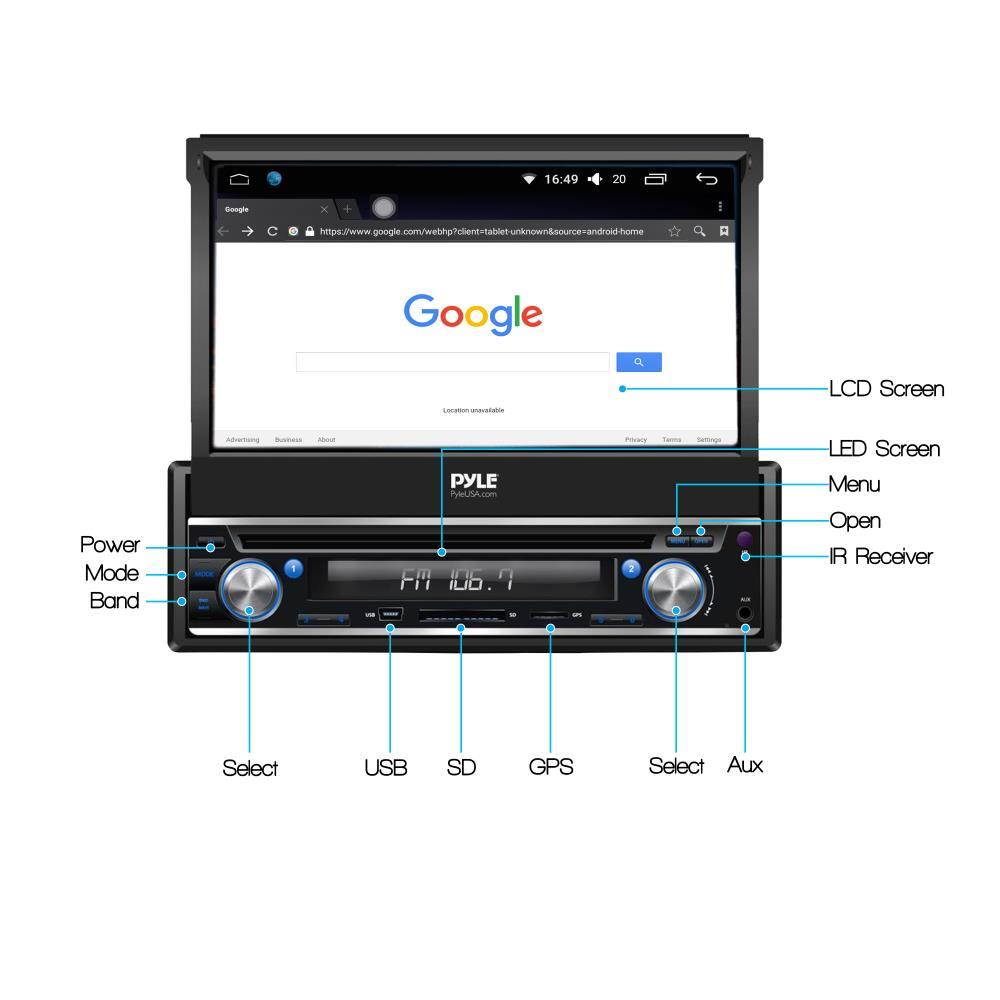 pyle - pl7andin - single din android stereo receiver ... pyle double din touch screen wiring diagram