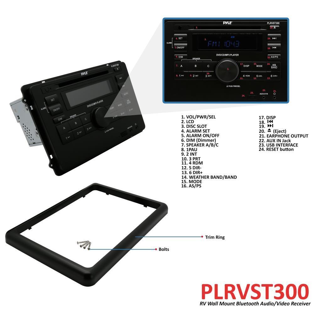 Pyle - PLRVST300 - RV Wall Mount Bluetooth Audio/Video Receiver - A/V Stereo Headunit, CD/DVD ...