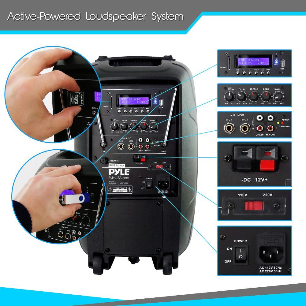 Pyle Pphp109wmu Wireless Amp Portable Bluetooth Pa