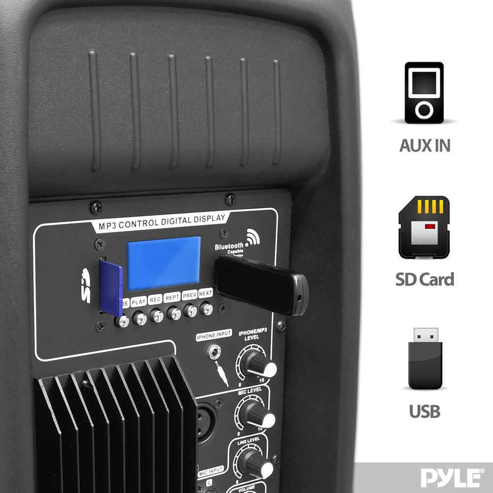 Pylepro Pphp1237ub Bluetooth Loudspeaker Pa Cabinet