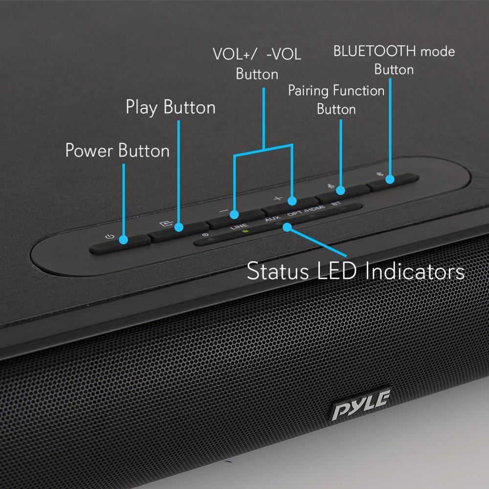 Pyle Psbv600bt Wave Base Bluetooth Tabletop Soundbar
