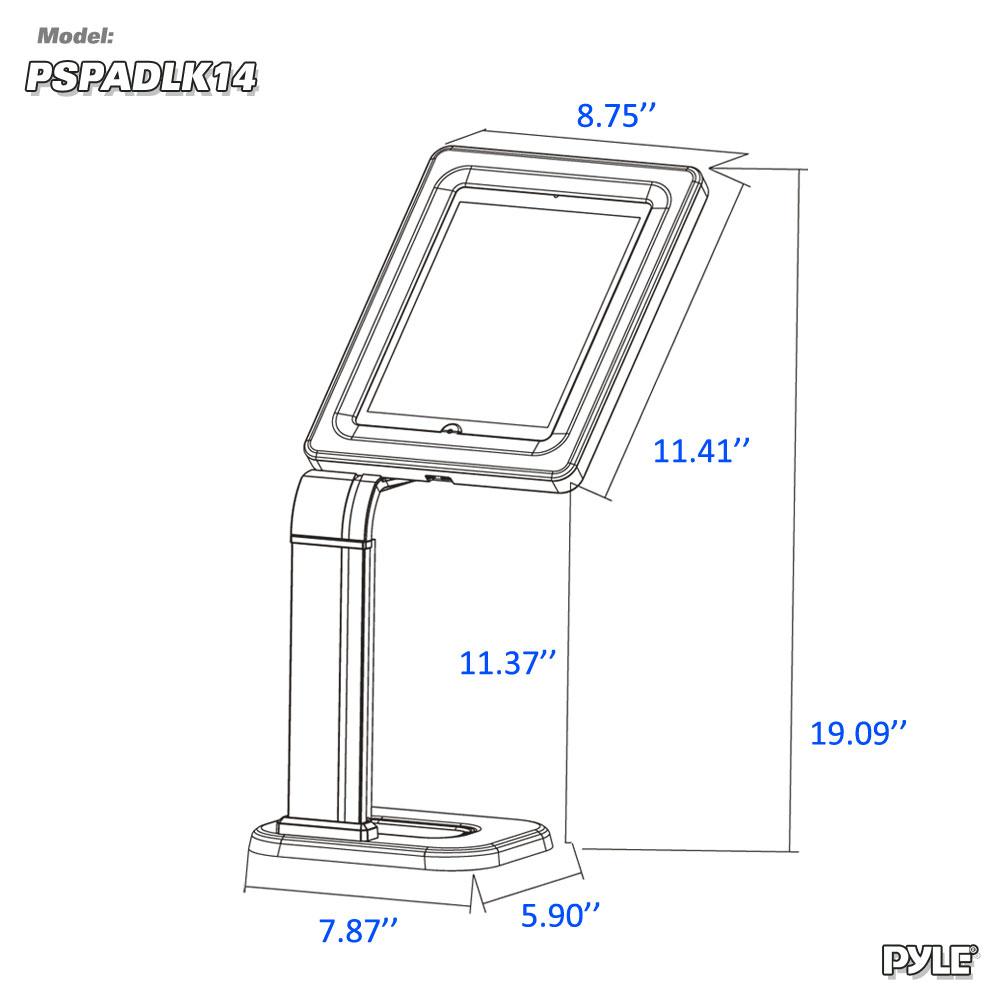 pyle - pspadlk14  tablet kiosk public display stand mount  for tabletop