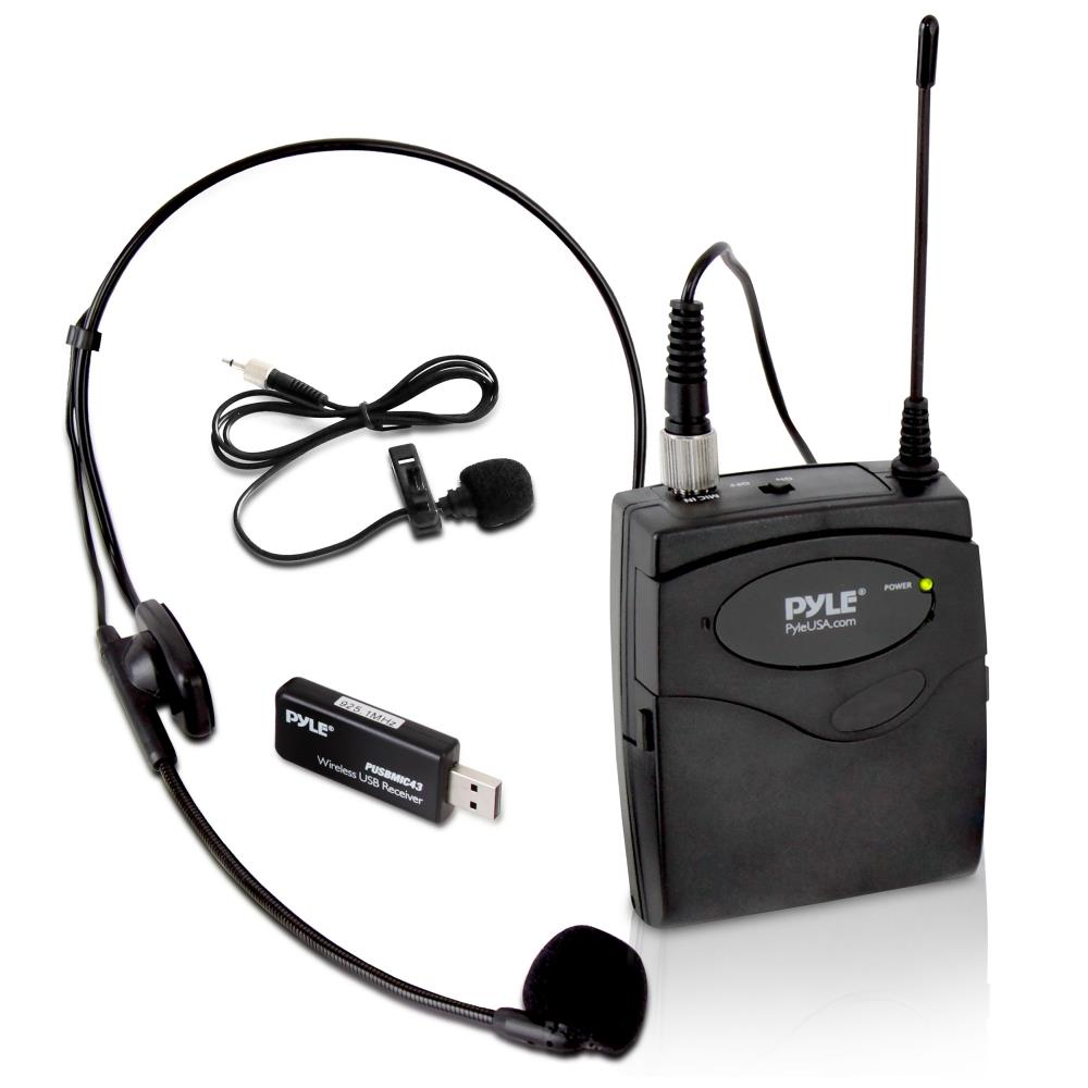 pyle pusbmic43 belt pack microphone system with wireless usb receiver headset mic. Black Bedroom Furniture Sets. Home Design Ideas