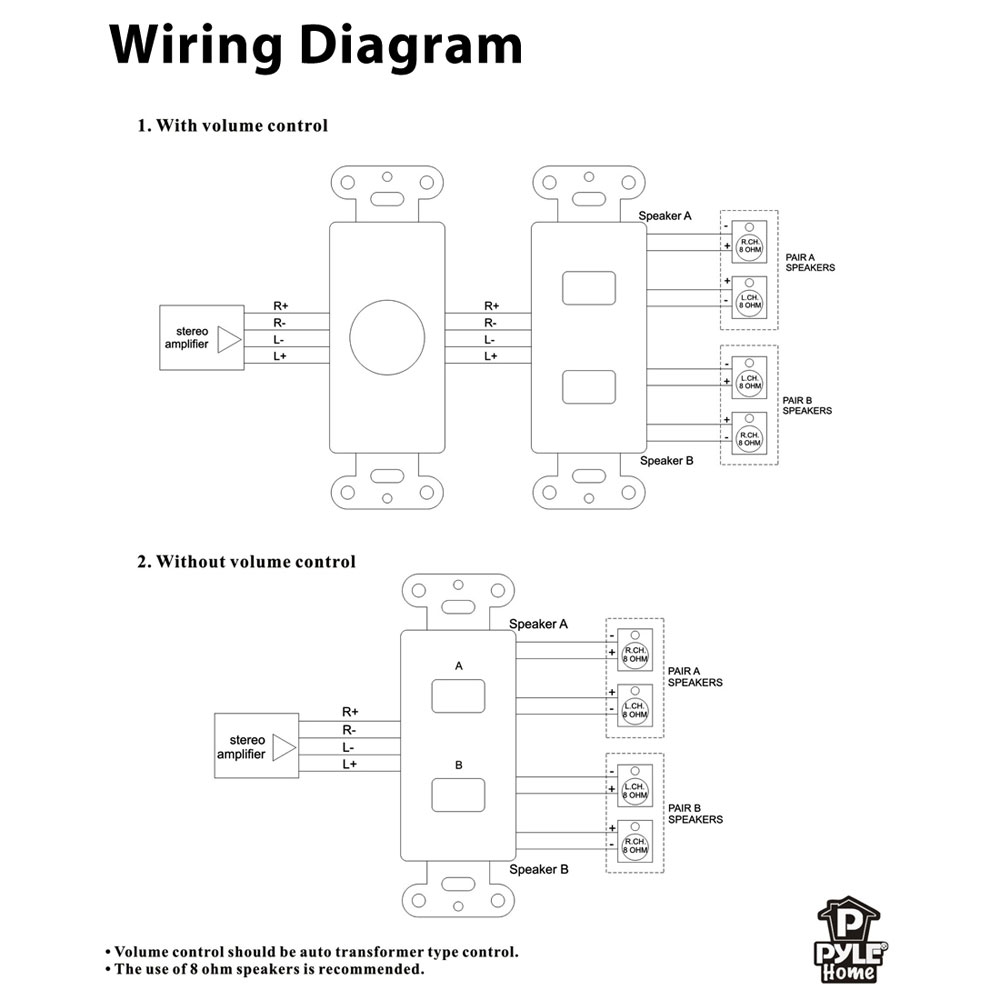 volume control wiring diagram tritton volume control wiring diagram for speaker pylehome - pvcs2 - in-wall speaker selector switch, wall ...
