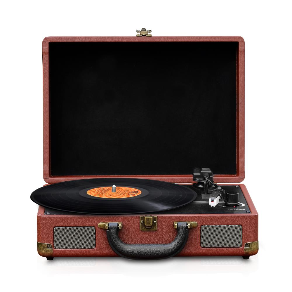 NEW Pyle PPTCM80BTGR Vintage Style Bluetooth Turntable System w// MP3 Recording