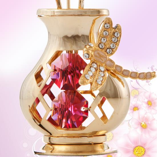 Matashi 24k Gold Plated Red Crystal Flower In Vase Ornament With Dragonfly Gift Ebay