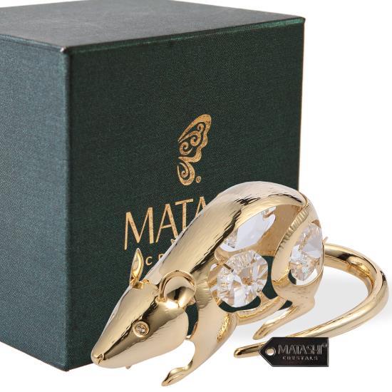 Matashi 24K Gold Plated Crystal Studded Christmas Ball Ornament For Tree Decor