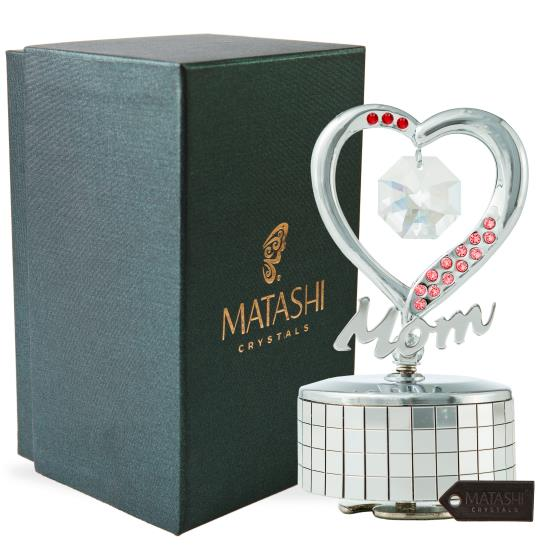 Details about Chrome Plated Mom Heart Wind-Up Music Box Ornament with  Crystals by Matashi