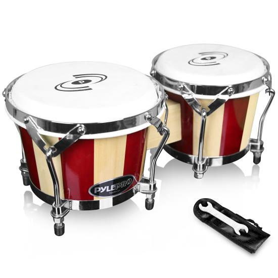 Pyle pbnd hand crafted wooden bongos bongo drums