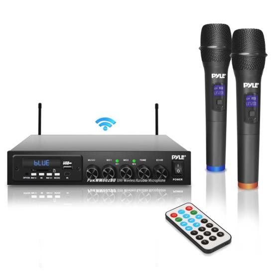 pyle pdkwm802bu wireless microphone bluetooth receiver system audio sound mixer receiver. Black Bedroom Furniture Sets. Home Design Ideas