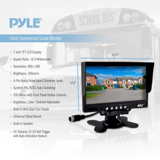 Trailer Van 2 Camera PLCMTR72 Backup Camera and Monitor Video for Bus Truck